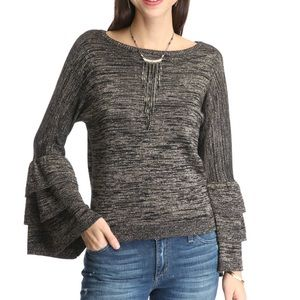 Black and Gold Ruffle Tier Sleeve Sweater small